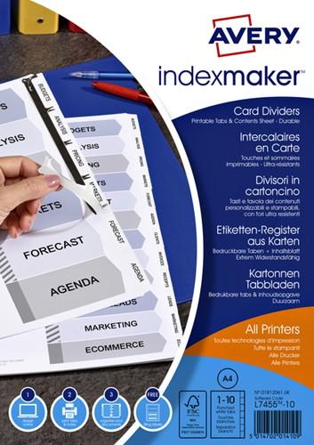Tabbladen Avery Indexmaker 9-gaats 10-delig wit