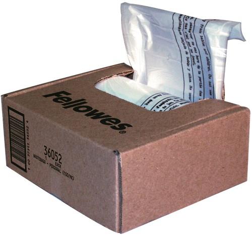 Papiervernietigerzak Fellowes, tot 30 liter, doos à 100 stuks