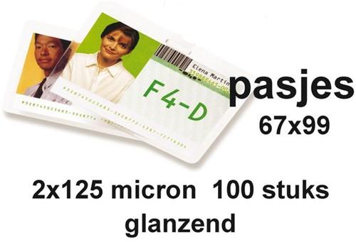 Lamineerhoes GBC badge card 67x99mm 2x125micron 100stuks