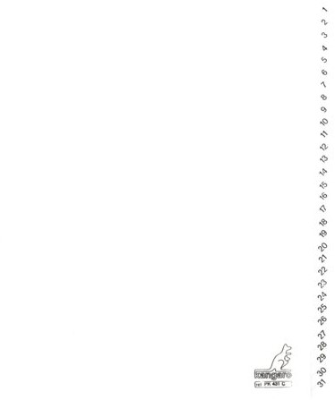Tabbladen Kangaro 4-gaats PK431C 1-31 genummerd wit karton