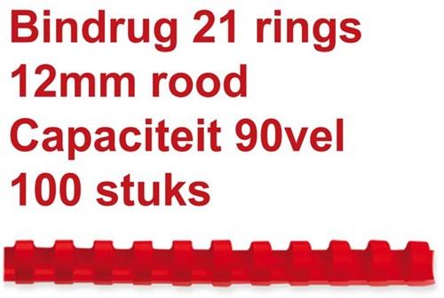 Bindrug Fellowes 12mm 21rings A4 rood 100stuks