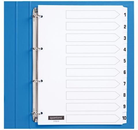 Tabbladen Quantore 4-gaats 1-10 genummerd wit karton
