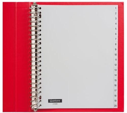 Tabbladen Quantore 23-gaats 1-20 genummerd grijs PP