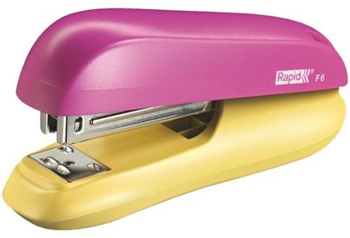 Nietmachine Rapid F6 Halfstrip 20vel 24/6 roze/geel