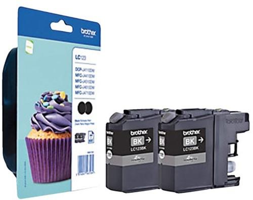 Inktcartridge Brother LC-123BKBP2 zwart 2x