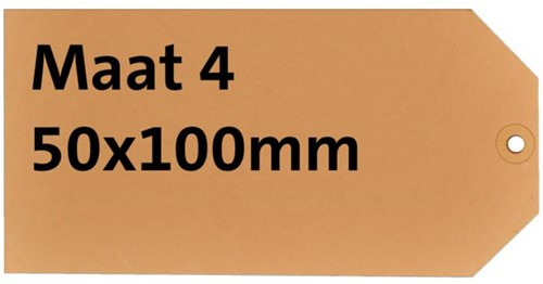 Label karton nr4 200gr 50x100mm chamois 1000stuks