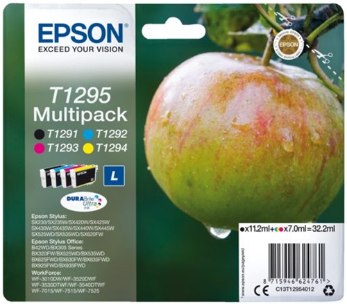 Inktcartridge Epson T1295 zwart + 3 kleuren