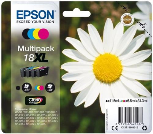 Inktcartridge Epson 18XL T1816 zwart + 3 kleuren HC