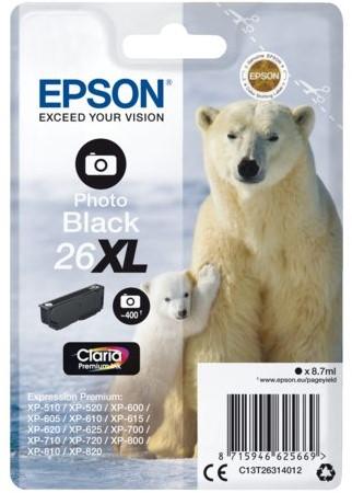 Inktcartridge Epson 26XL T2631 foto zwart HC