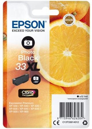Inktcartridge Epson 33XL T3361 foto zwart HC