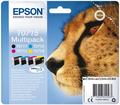 Inktcartridge Epson T0715 zwart + 3 kleuren