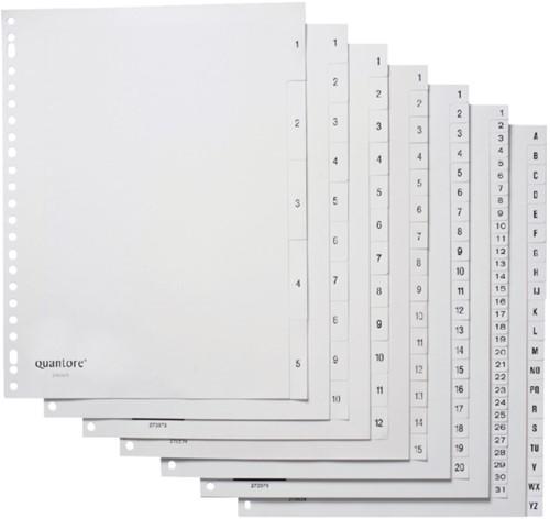 Tabbladen Quantore 23-gaats 1-5 genummerd wit PP