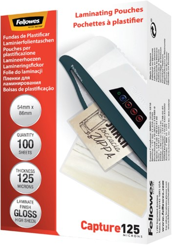 Lamineerhoes Fellowes 54x86mm 2x125micron 100stuks