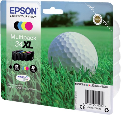 Inktcartridge Epson 34XL T3476 zwart + 3 kleuren