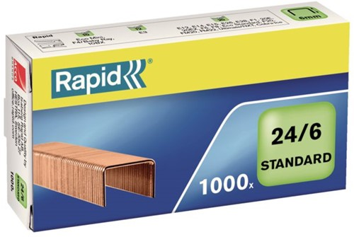 Nieten Rapid 24/6 kopercoating standaard 1000 stuks