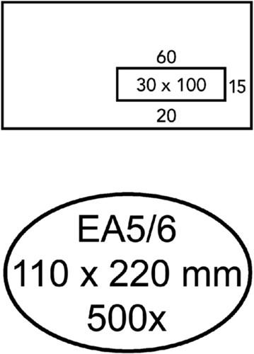 Envelop Quantore 110x220mm venster 3x10cm rechts 500stuks
