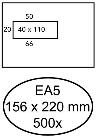 Envelop Quantore 156x220mm venster 4x11cm links 500stuks