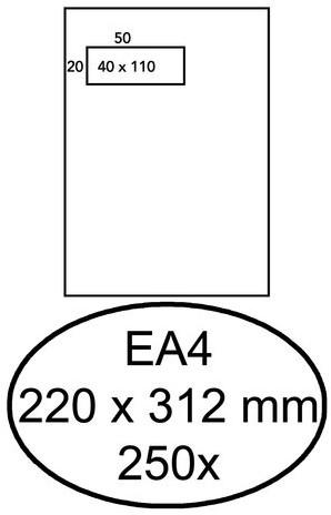 Envelop Hermes akte EA4 220x312mm venster 4x11 links zelfkl 250st