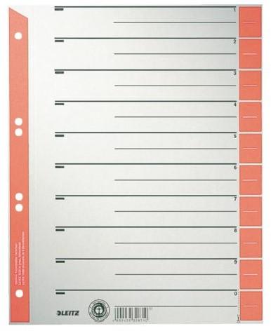 Scheidingsbladen Leitz A4 karton 230gr 6-gaats rood