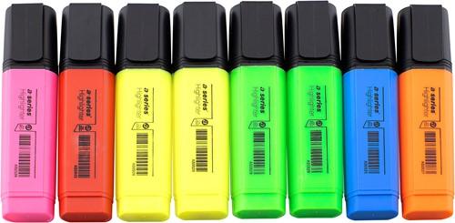 Markeerstift assorti - 6 kleuren (roze/rood/2 x geel/2 x groen/blauw/oranje)