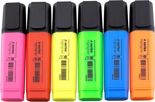 Markeerstift assorti - 6 kleuren (roze/rood/geel/groen/blauw/oranje)